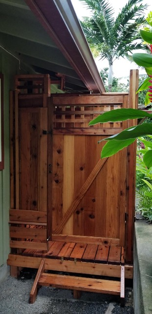 outdoor redwood shower